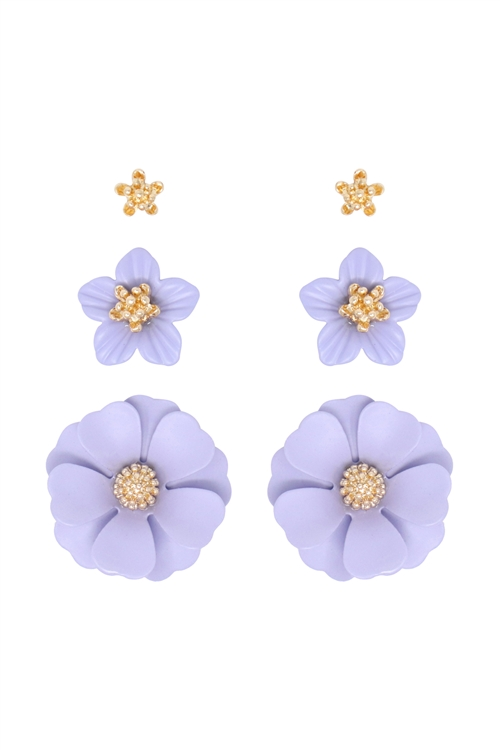 S1-2-3-ME4590GD-LVD - 3 SET FLOWER POST EARRING - GOLD LAVENDER/6PCS