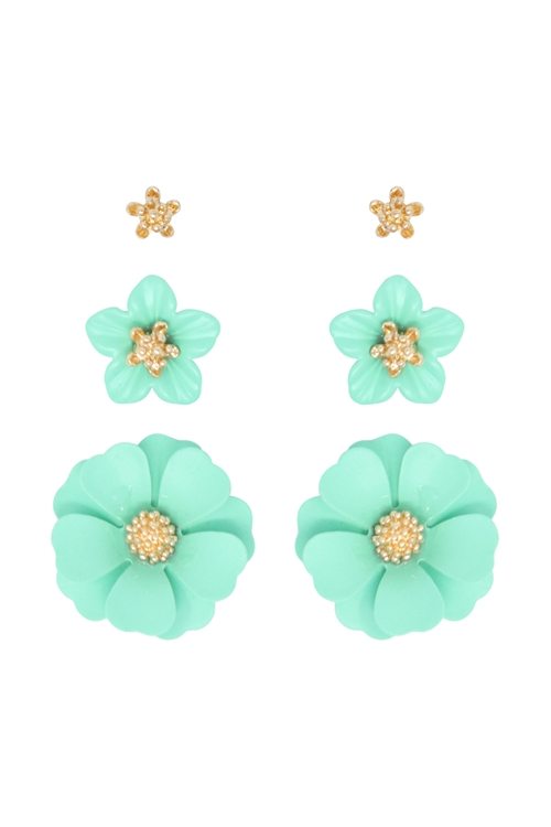S1-2-3-ME4590GD-MNT - 3 SET FLOWER POST EARRING - GOLD MINT/6PCS