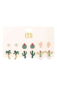 S4-5-2-ME4609 - CACTUS ASSORTED 6 SET EARRINGS /6PCS
