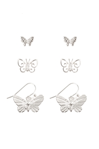 S7-4-5-ME4637RD -  BUTTERFLY 3 SET EARRINGS - SILVER/6PCS