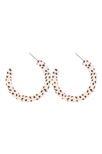 S4-6-2-ME4643NDAL - DALMATIAN PRINT WOOD HOOP EARRINGS - BROWN/6PCS