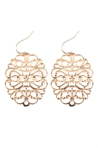 S22-11-5-ME4658GD - ROUND FILIGREE CAST EARRINGS - GOLD/6PAIRS