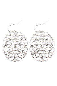 S22-11-5-ME4658RD - ROUND FILIGREE CAST EARRINGS - SILVER/6PAIRS
