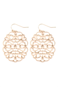 S22-11-5-ME4658WG - ROUND FILIGREE CAST EARRINGS - MATTE GOLD/6PAIRS