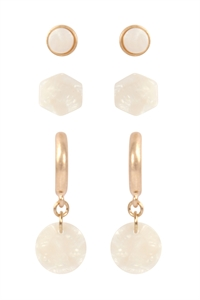 S24-1-4-ME4713WG-IVY- 3 SET ACETATE HOOP POST STUD EARRINGS-MATTE GOLD IVORY/6PCS