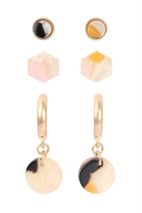 S24-1-4-ME4713WG-M1-3 SET ACETATE HOOP POST STUD EARRINGS-MATTE GOLD MULTICOLOR 1/6PCS