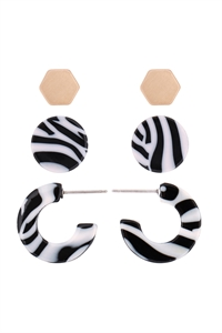 S22-11-5-ME4714GD-BW - ACETATE 3 SET EARRINGS-ZEBRA/6PAIRS