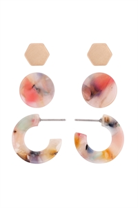 S22-11-5-ME4714GD-MLT - ACETATE 3 SET EARRINGS-MILTICOLOR 4/6PAIRS