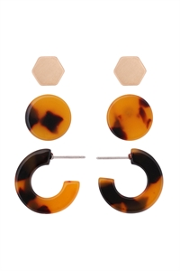 S22-11-5-ME4714GD-TOR - ACETATE 3 SET EARRINGS-TORTOISE BROWN/6PAIRS