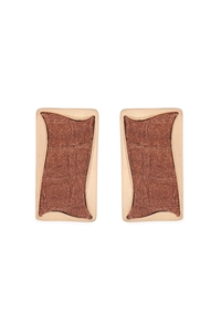 S22-11-5-ME4722LBREO - GENUINE LEATHER STUD EARRINGS-LIGHTBROWN/6PAIRS