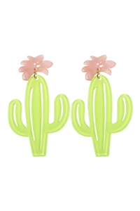 S6-5-1-ME4815MLT - CACTUS ACETATE POST EARRINGS /6PCS