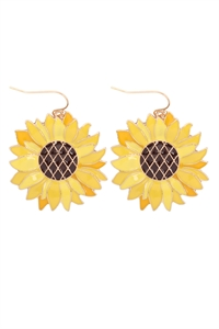 S1-2-2-ME4872YEL - SUN FLOWER ENAMEL HOOK EARRINGS - YELLOW/6PCS