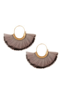 S22-4-1-ME7504GRY - FUR HOOP EARRINGS - GRAY/6PCS