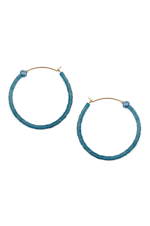 A1-1-5-AME7670TL TEAL TOGGLE HOOP EARRINGS/6PAIRS