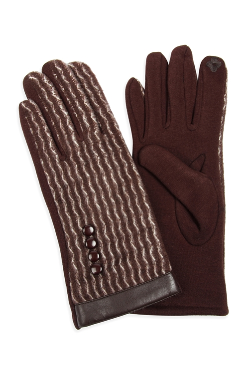 S2-6-2-MG0014BR - PU TRIM WAVE PATTERN SMART TOUCH GLOVES - BROWN/6PCS