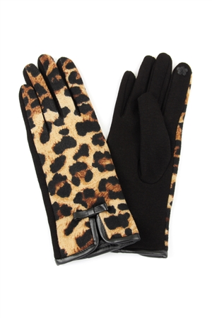 S21-2-3-MG0030TP - LEOPARD RIBBON SMART TOUCH GLOVES - TAUPE/6PCS