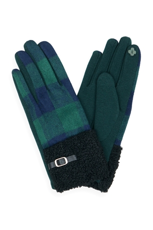 S19-10-4-MG0036GN - BUFFALO PLAID SMART TOUCH SHERPA CUFF GLOVES-GREEN/6PCS