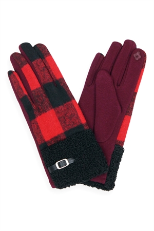 S19-10-4-MG0036RD - BUFFALO PLAID SMART TOUCH SHERPA CUFF GLOVES-RED/6PCS