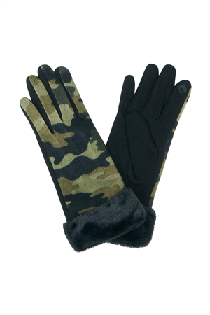 S21-1-4-MG0037 - SMART TOUCH CAMOUFLAGE FAUX FUR CUFF GLOVES/6PCS