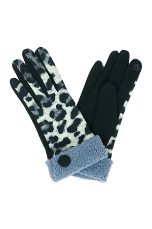 S23-6-2-MG0038BK - SMART TOUCH LEOPARD SHERPA CUFF BUTTON GLOVES - BLACK/6PCS