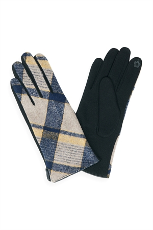S23-6-2-MG0043NV-PLAID SMART TOUCH GLOVES-NAVY/6PCS