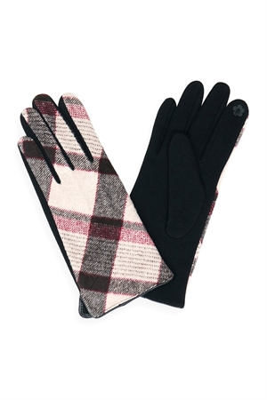S23-6-2-MG0043PK-PLAID SMART TOUCH GLOVES-PINK/6PCS