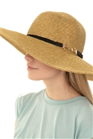 S18-9-5-MH0008NA-M- NATURAL MIX SUMMER HAT WITH ANCHOR ADJUSTABLE BAND/6PCS