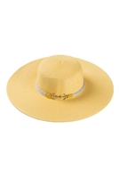 S23-13-5-MH0008YE-YELLOW MIX SUMMER HAT WITH ANCHOR ADJUSTABLE BAND/6PCS
