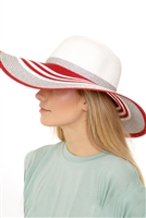 S18-7-5-MH0013RD-SV-RED SILVER  MIXED MULTI CIRCLE SUMMER HAT/6PCS