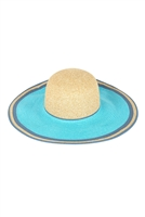 S18-8-5-MH0021BL-BLUE TWO TONE BRIM SUMMER FLOPPY HAT /6PCS