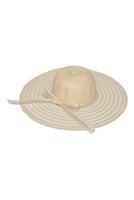 S18-7-5-MH0022BE-BEIGE  MESH STRIPE BOW SUMMER FLOPPY HAT/6PCS