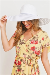 S18-7-5-MH0022WH-WHITE MESH STRIPE BOW SUMMER FLOPPY HAT/6PCS