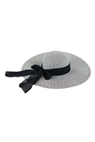 S18-7-5-MH0025BK-BLACK MIXED COLOR STRAW  BOWS SUMMER FLAPPY HAT/6PCS