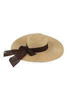 S18-8-5-MH0025BR-BROWN MIXED COLOR STRAW  BOWS SUMMER FLAPPY HAT/6PCS