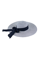 S18-8-5-MH0025NV-NAVY MIXED COLOR STRAW  BOWS SUMMER FLAPPY HAT/6PCS