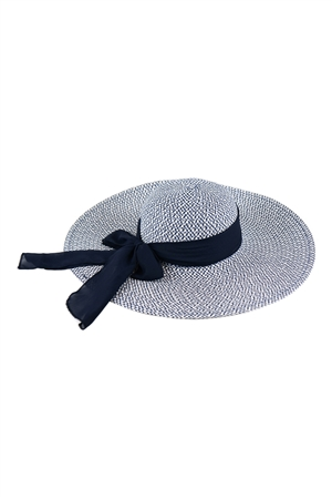 S18-8-5-MH0025NV-NAVY MIXED COLOR STRAW  BOWS SUMMER FLOPPY HAT/6PCS
