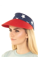 S22-13-5-MH0032RD - AMERICAN FLAG VISOR SUN HAT RED/6PCS