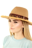 S19-7-2-MH0037 - FRAYED TRIM AZTEC STRAW HAT /6PCS