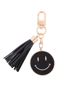 S19-9-3-MK517-1BLACK - SMILEY LEATHER W/ TASSEL KEYCHAIN/6PCS