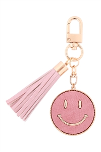 S19-9-3-MK517-1PINK - SMILEY LEATHER W/ TASSEL KEYCHAIN/6PCS