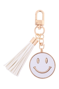 S19-9-3-MK517-1WHITE - SMILEY LEATHER W/ TASSEL KEYCHAIN/6PCS