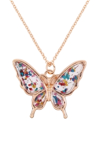 S1-8-4-MN1520GDMT - BUTTERFLY RESIN PENDANT NECKLACE-GOLD MULTICOR/6PCS