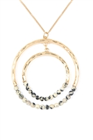 S6-6-2-MN3040DAL- STONE BEADED DOUBLE HOOP PENDANT NECKLACE - DALMATIAN/6PCS