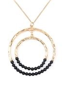 S6-6-2-MN3040JET- STONE BEADED DOUBLE HOOP PENDANT NECKLACE - BLACK/6PCS