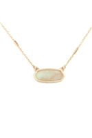 S17-10-4-MN3045WG-AMZ- AMAZONITE SEMI PRECIOUS OVAL STONE NECKLACE/6PCS