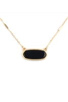 S17-12-4-MN3045WG-BK-BLACK SEMI PRECIOUS OVAL STONE NECKLACE/6PCS