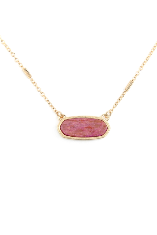 S22-9-1-MN3045WG -DPK- DUSTY PINK SEMI PRECIOUS OVAL STONE NECKLACE/6PCS