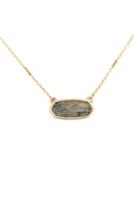 S17-10-3-MN3045WG-GRY- GRAY SEMI PRECIOUS OVAL STONE NECKLACE/6PCS