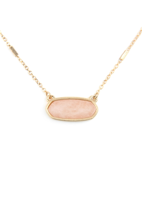 S17-12-4-MN3045WG-PNK-PINK SEMI PRECIOUS OVAL STONE NECKLACE/6PCS