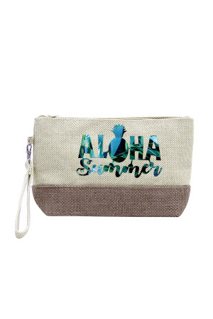 SA3-2-1-AMP0011BE BIEGE BEACH BAG POUCH ALOHA SUMMER/6PCS